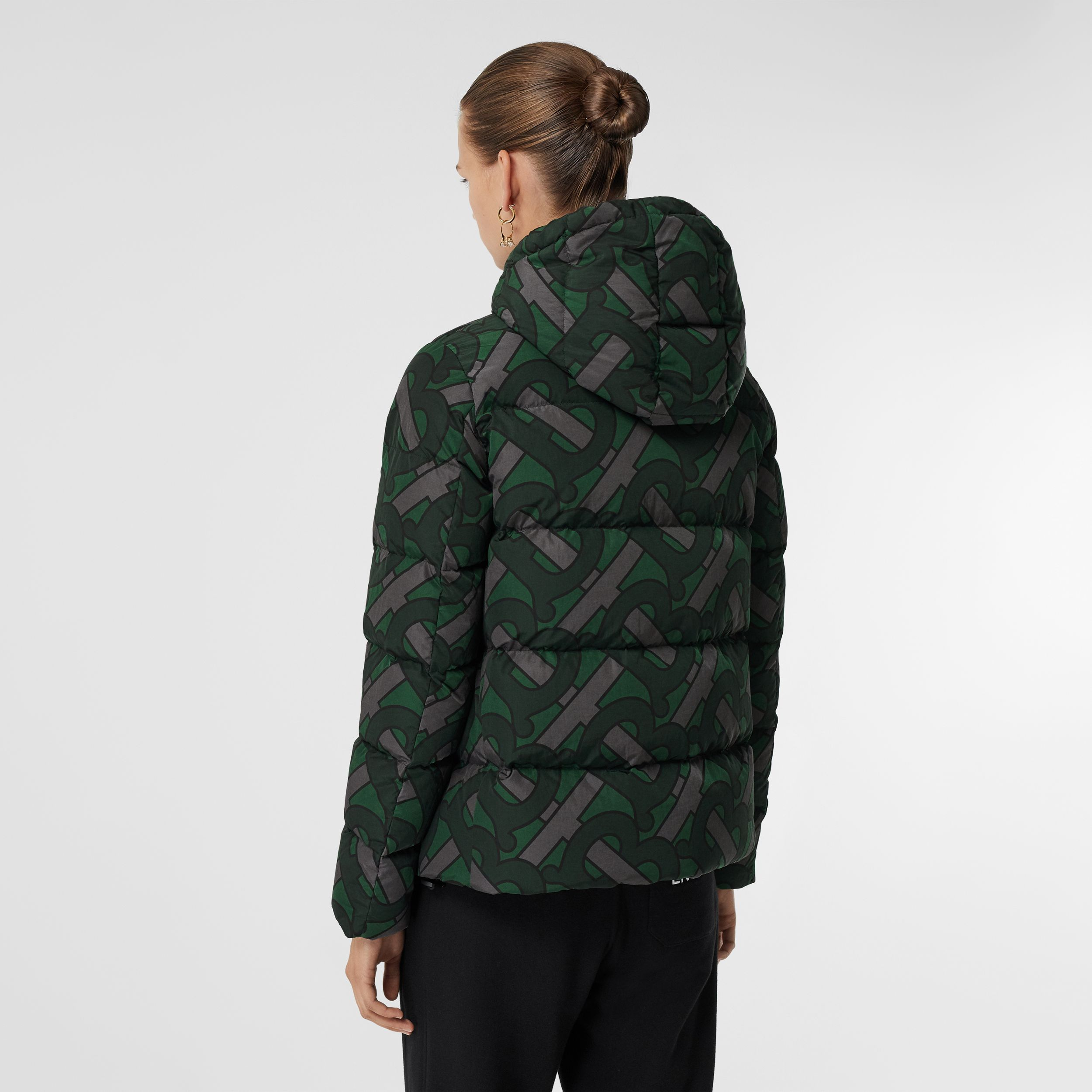 Monogram Print Hooded Puffer Jacket in Forest Green - Women | Burberry United Kingdom - 3