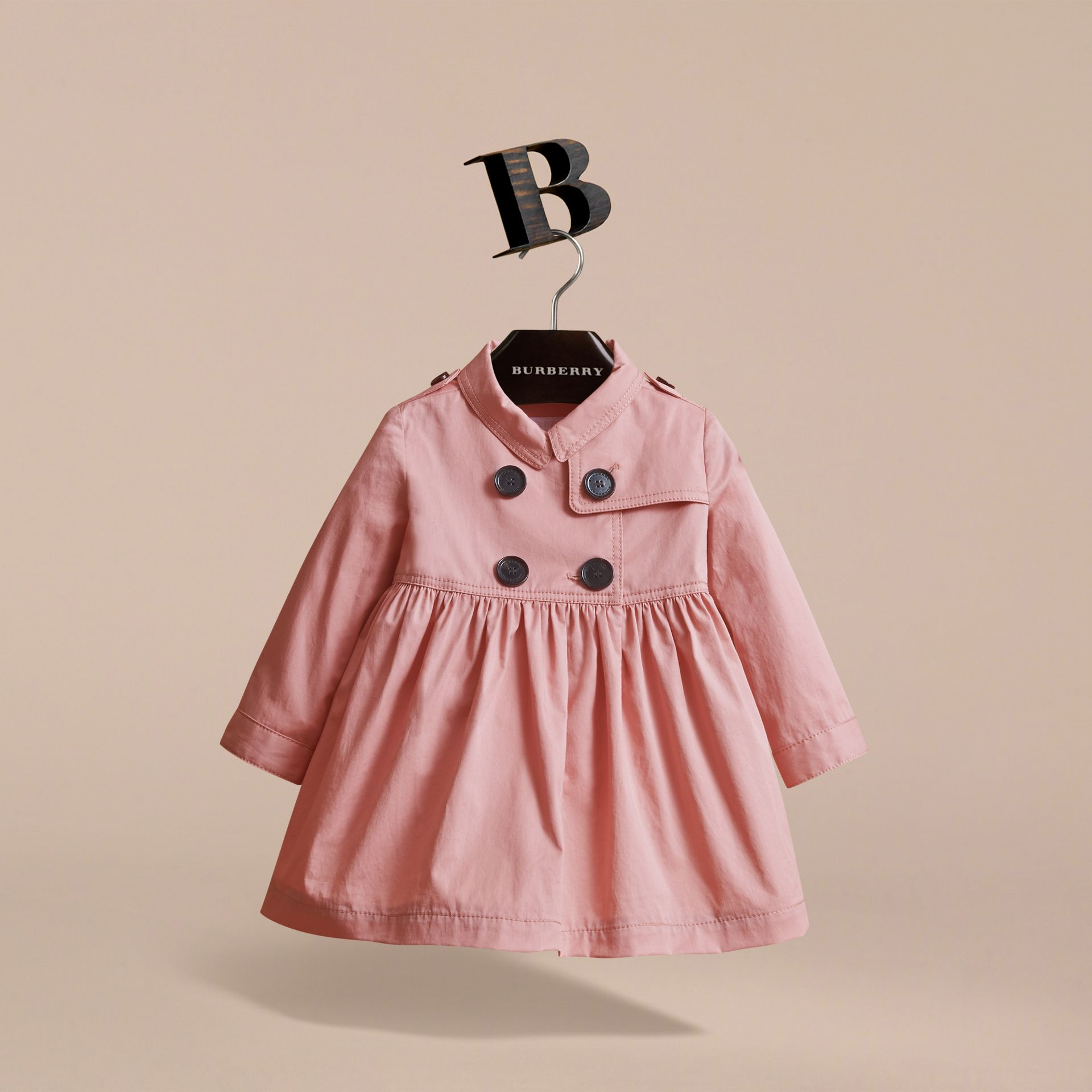 Stretch Cotton Trench Dress in Pale Rose | Burberry Australia - gallery image 3