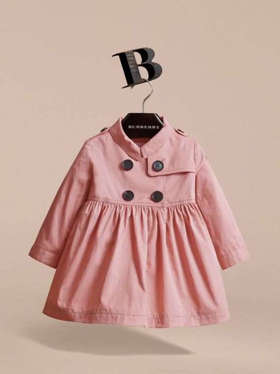 Stretch Cotton Trench Dress in Pale Rose | Burberry - cell image 2