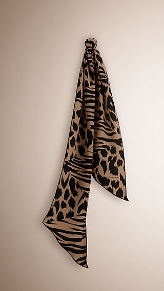 Animal Print Patchwork Silk Scarf