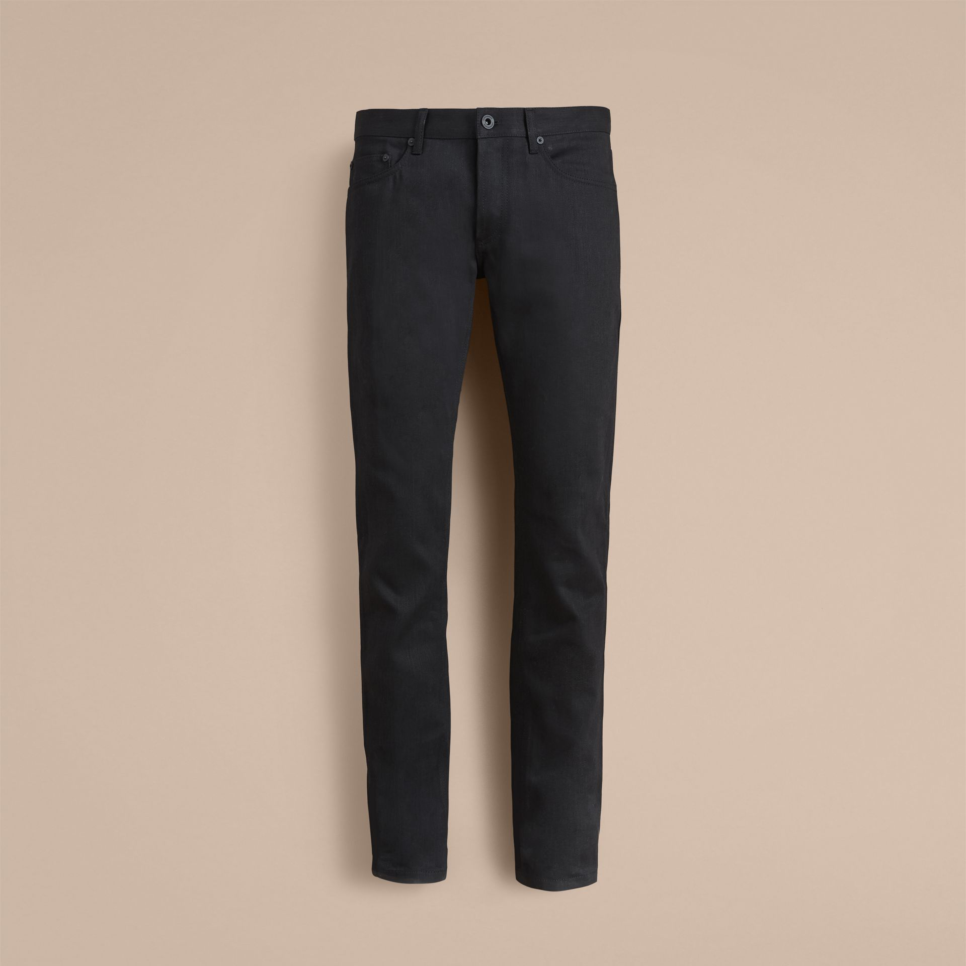 Slim Fit Japanese Denim Jeans in Black - Men | Burberry - gallery image 3
