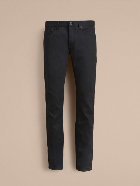 Slim Fit Japanese Denim Jeans in Black - Men | Burberry United Kingdom - cell image 3