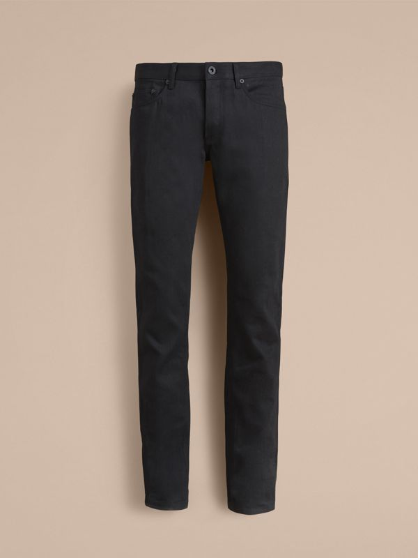 Slim Fit Japanese Denim Jeans in Black - Men | Burberry - cell image 3