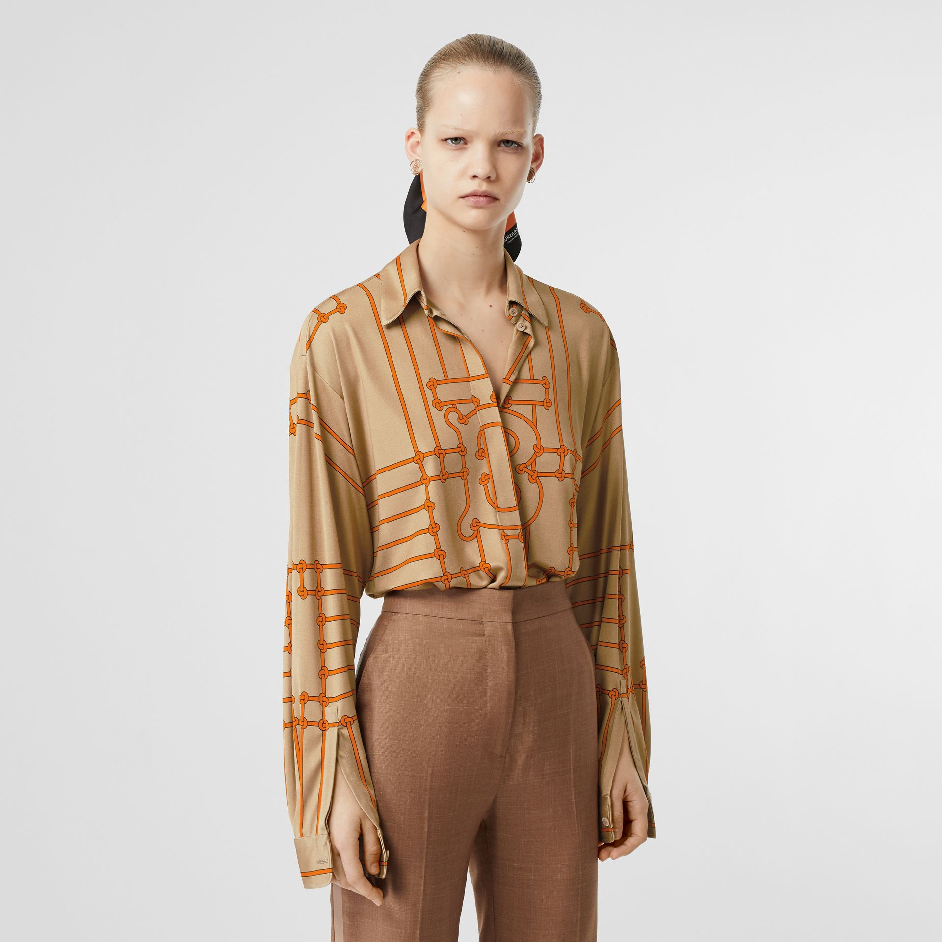 Monogram Motif Rope Print Stretch Silk Shirt in Orange - Women | Burberry United Kingdom - gallery image 3