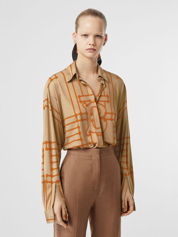 Monogram Motif Rope Print Stretch Silk Shirt in Orange - Women | Burberry - cell image 3