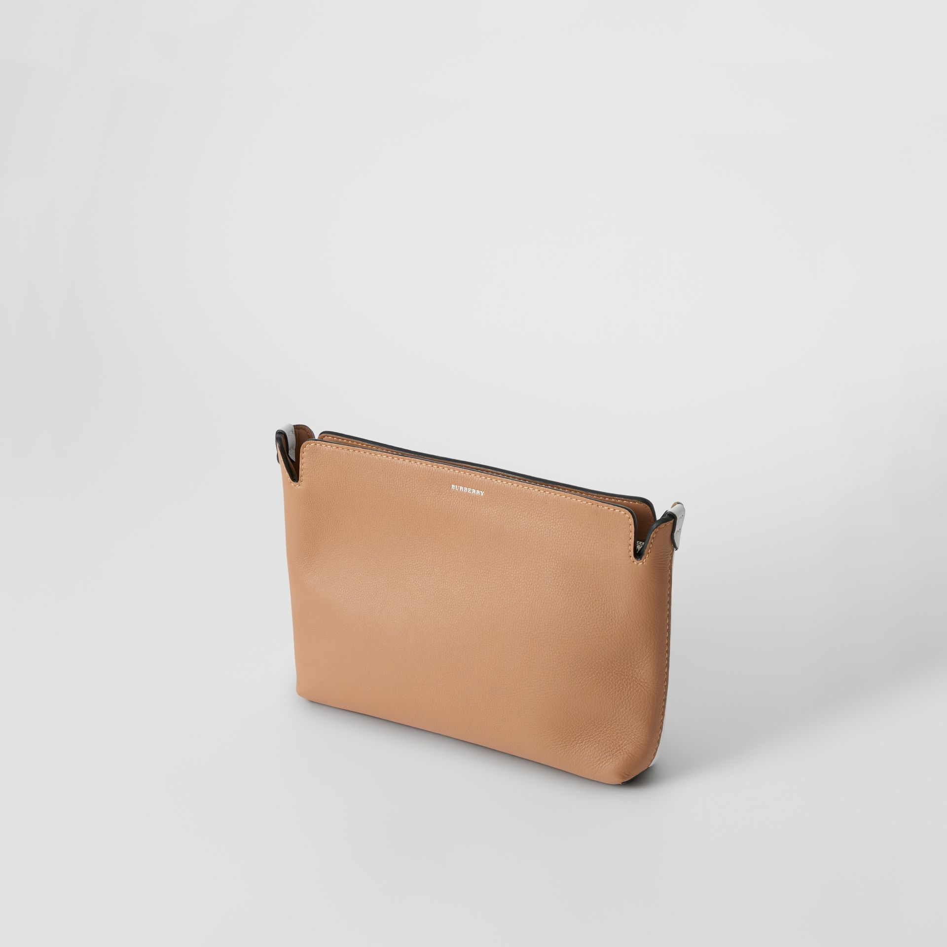 Medium Two-tone Leather Clutch in Light Camel/chalk White - Women | Burberry United States - gallery image 3