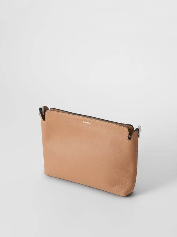 Medium Two-tone Leather Clutch in Light Camel/chalk White - Women | Burberry United States - cell image 3