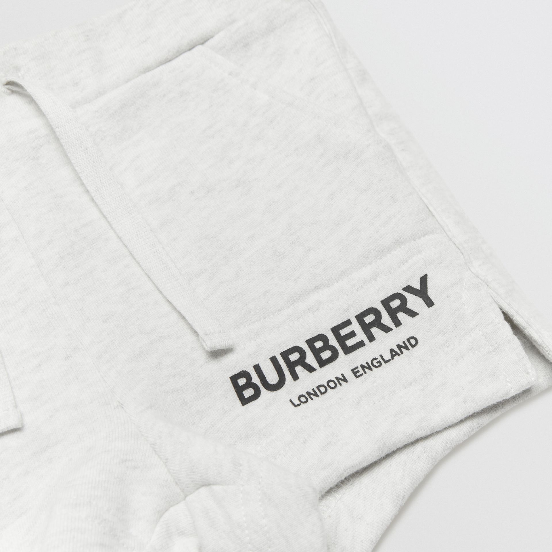 Logo Print Cotton Drawcord Shorts in White Melange - Children | Burberry United Kingdom - gallery image 1