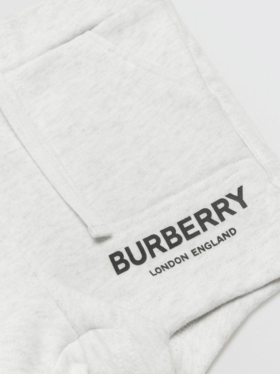 Logo Print Cotton Drawcord Shorts in White Melange - Children | Burberry United Kingdom - cell image 1