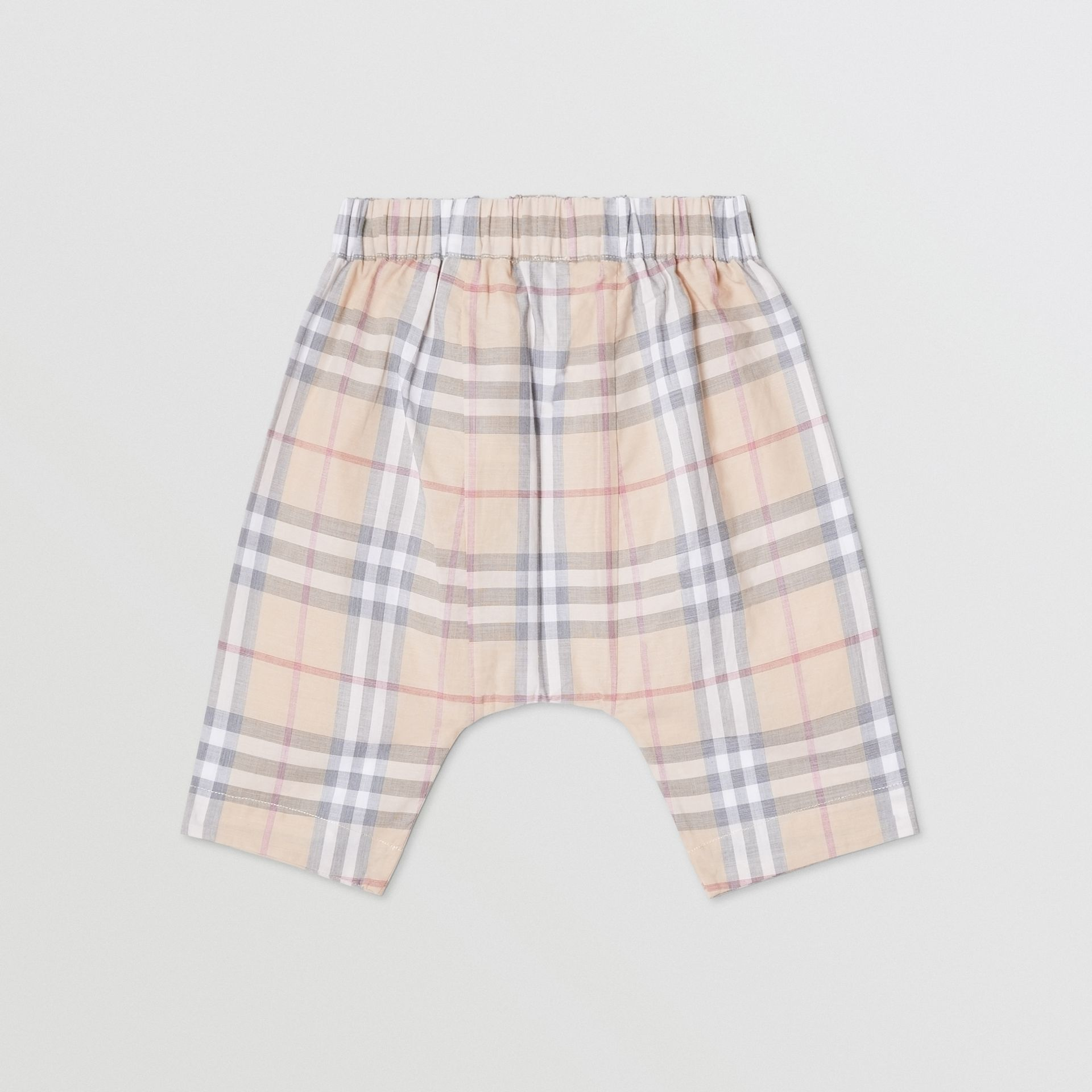 Vintage Check Cotton Drawcord Trousers in Pale Stone - Children | Burberry - gallery image 3