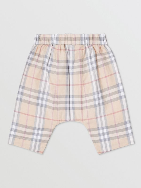 Vintage Check Cotton Drawcord Trousers in Pale Stone - Children | Burberry - cell image 3