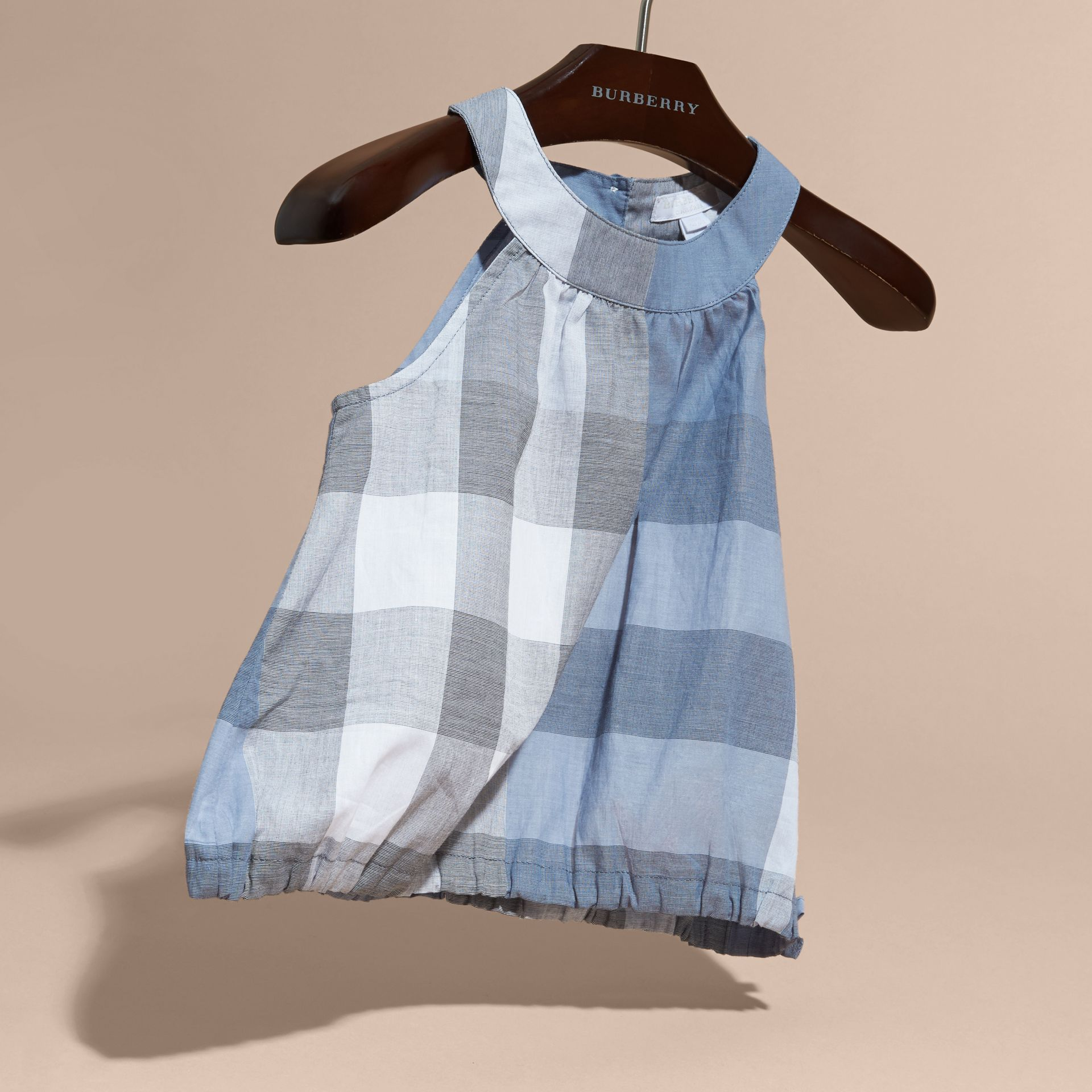 Gathered Check Cotton Top in Canvas Blue | Burberry - gallery image 3