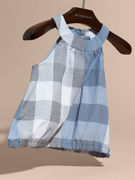 Gathered Check Cotton Top in Canvas Blue | Burberry - cell image 2