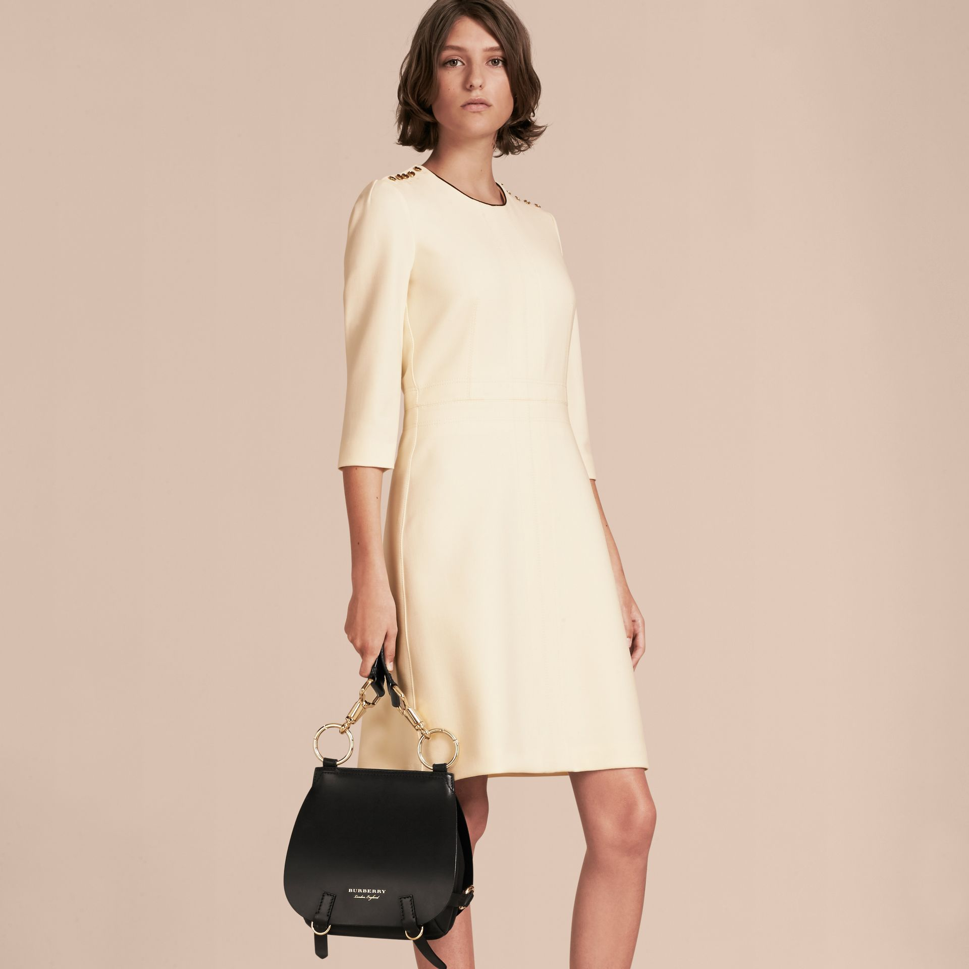 White Button Detail Wool Blend Crepe Dress - gallery image 6
