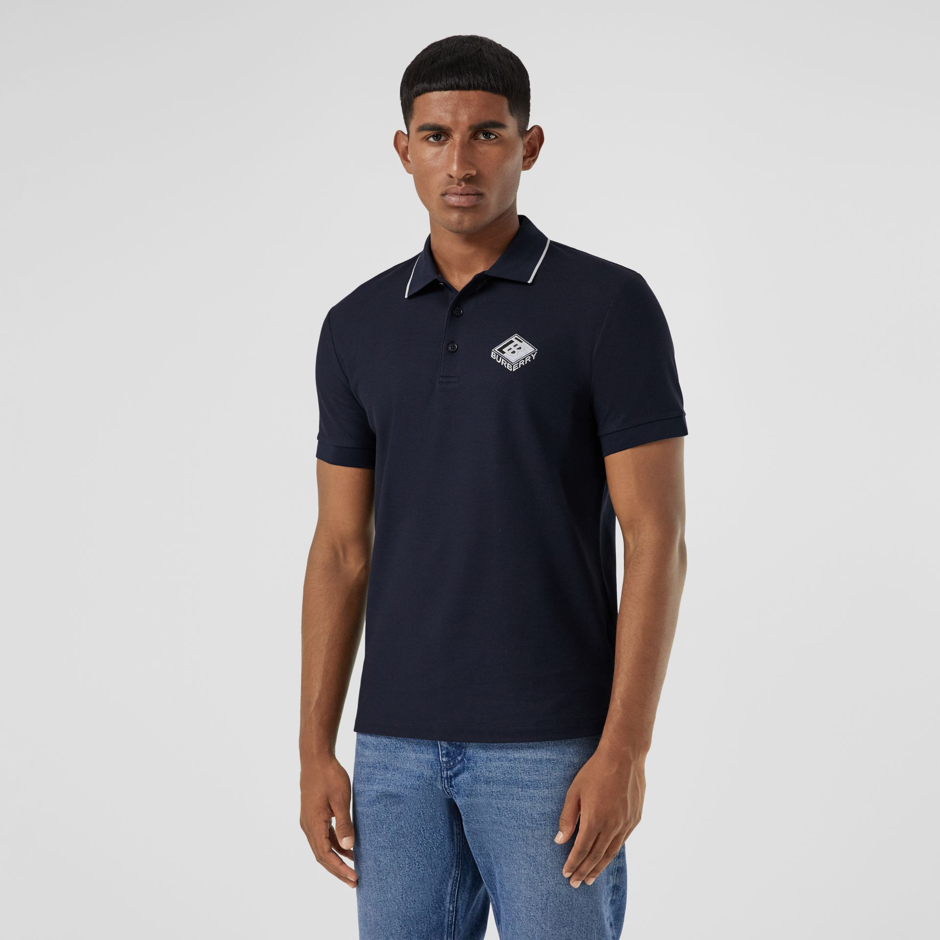 Logo Graphic Cotton Piqué Polo Shirt in Navy - Men | Burberry - gallery image 4