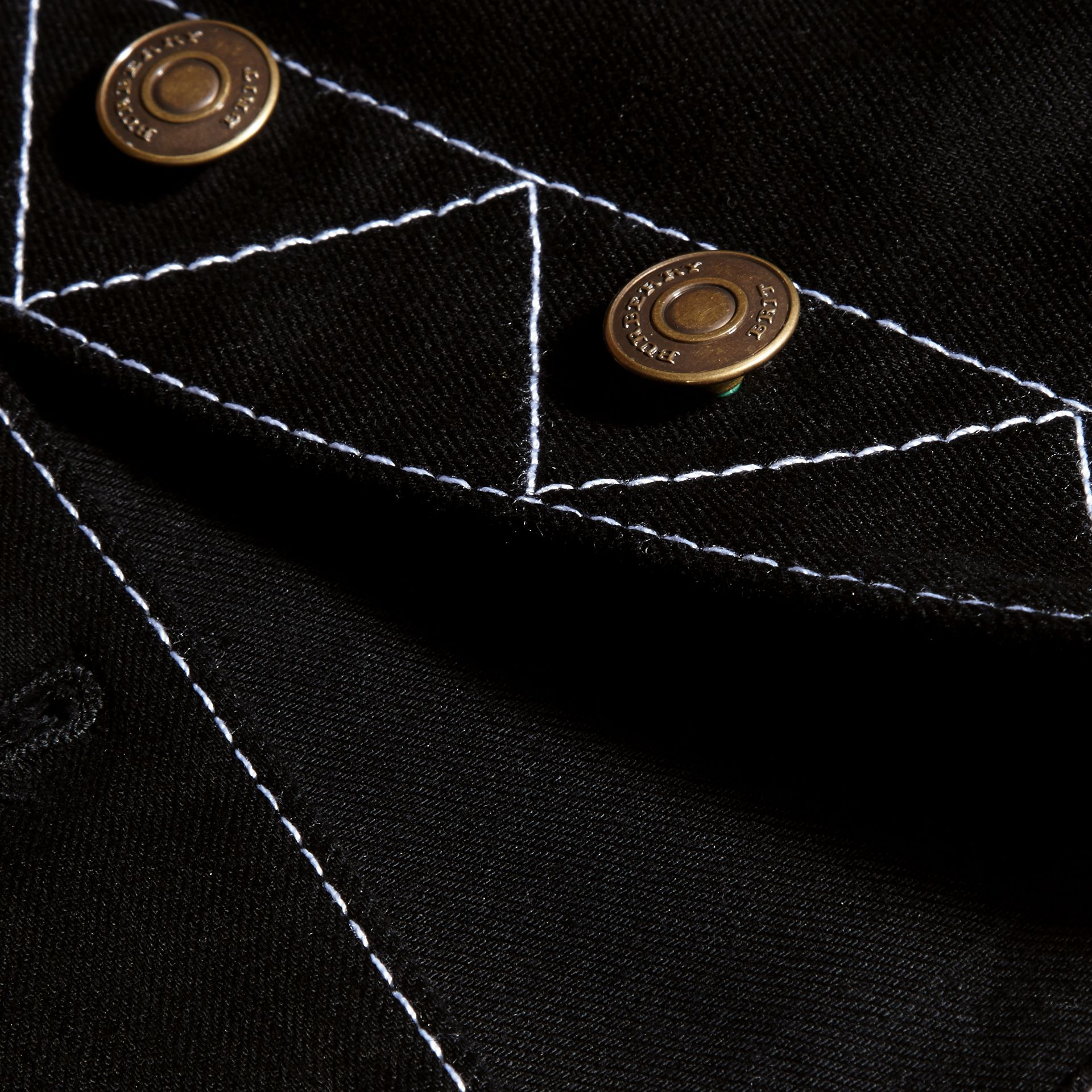 Black Stitch Detail Stretch Denim Jacket - gallery image 2
