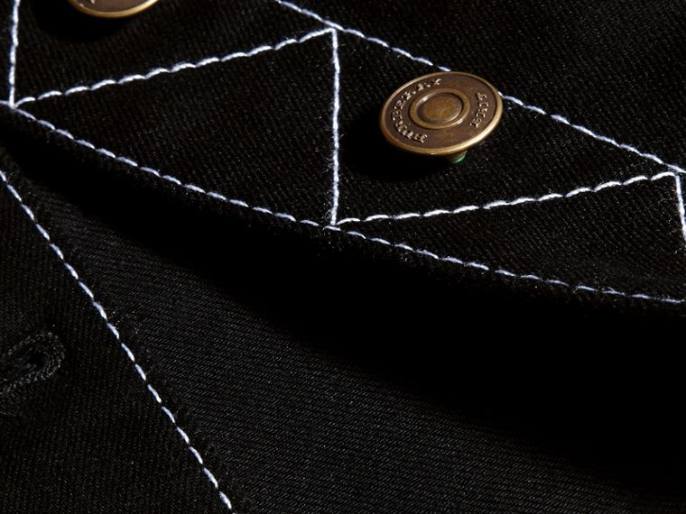 Black Stitch Detail Stretch Denim Jacket - cell image 1