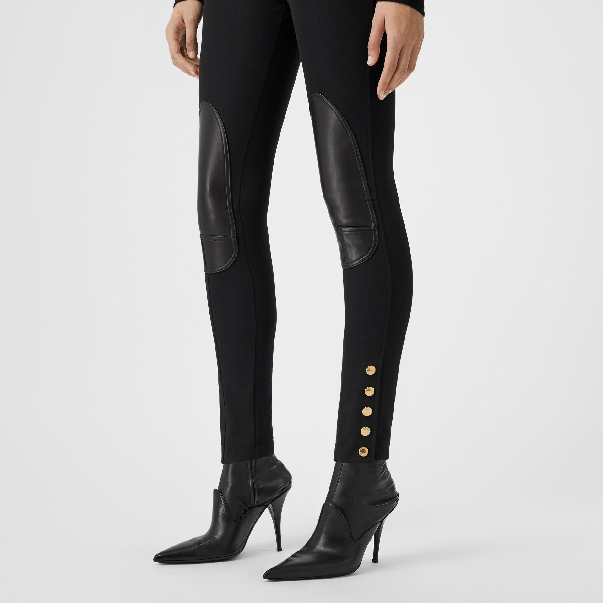 Lambskin Trim Stretch Cotton Blend Trousers in Black - Women | Burberry United Kingdom - gallery image 4