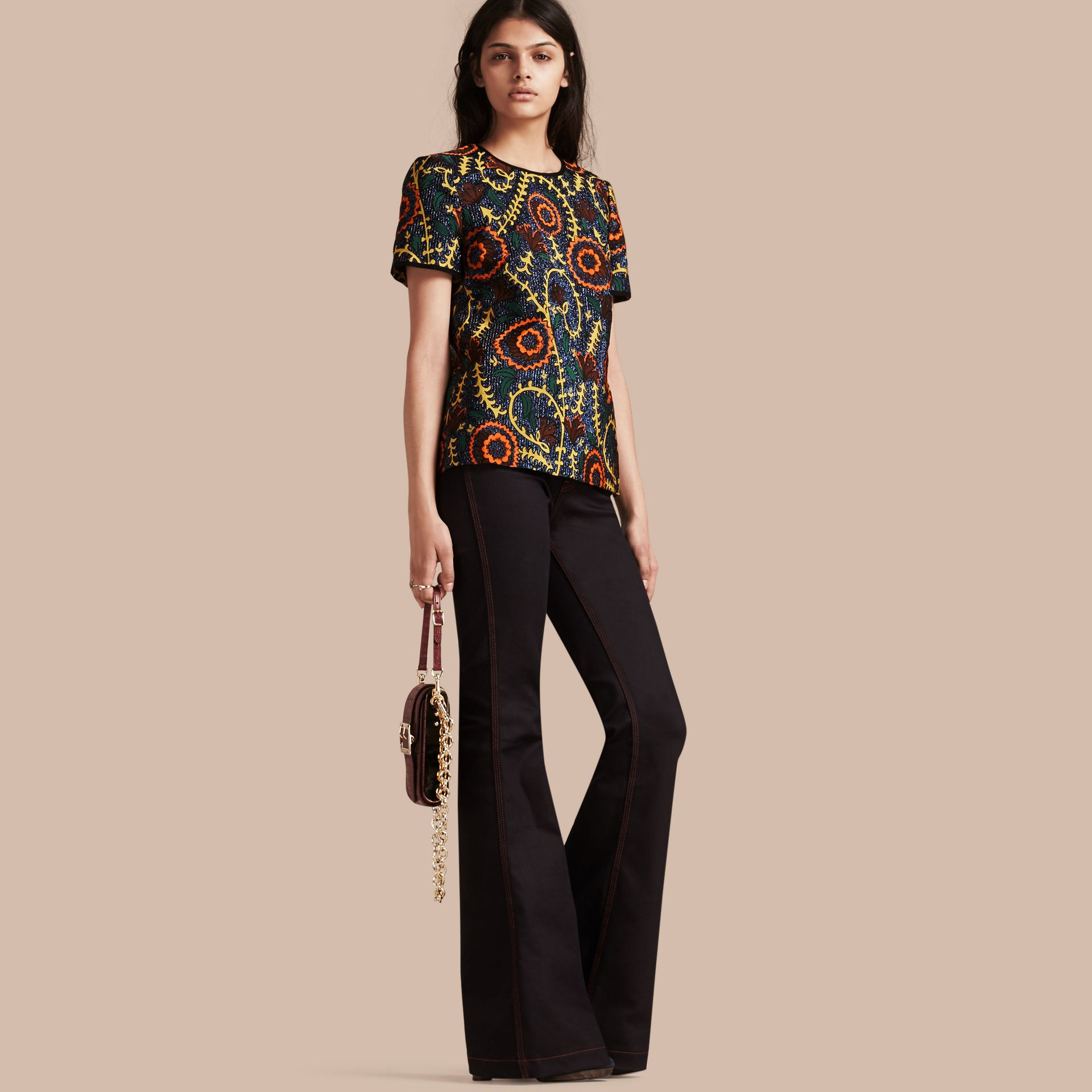 Bright navy Floral Jacquard Structured Top - gallery image 1