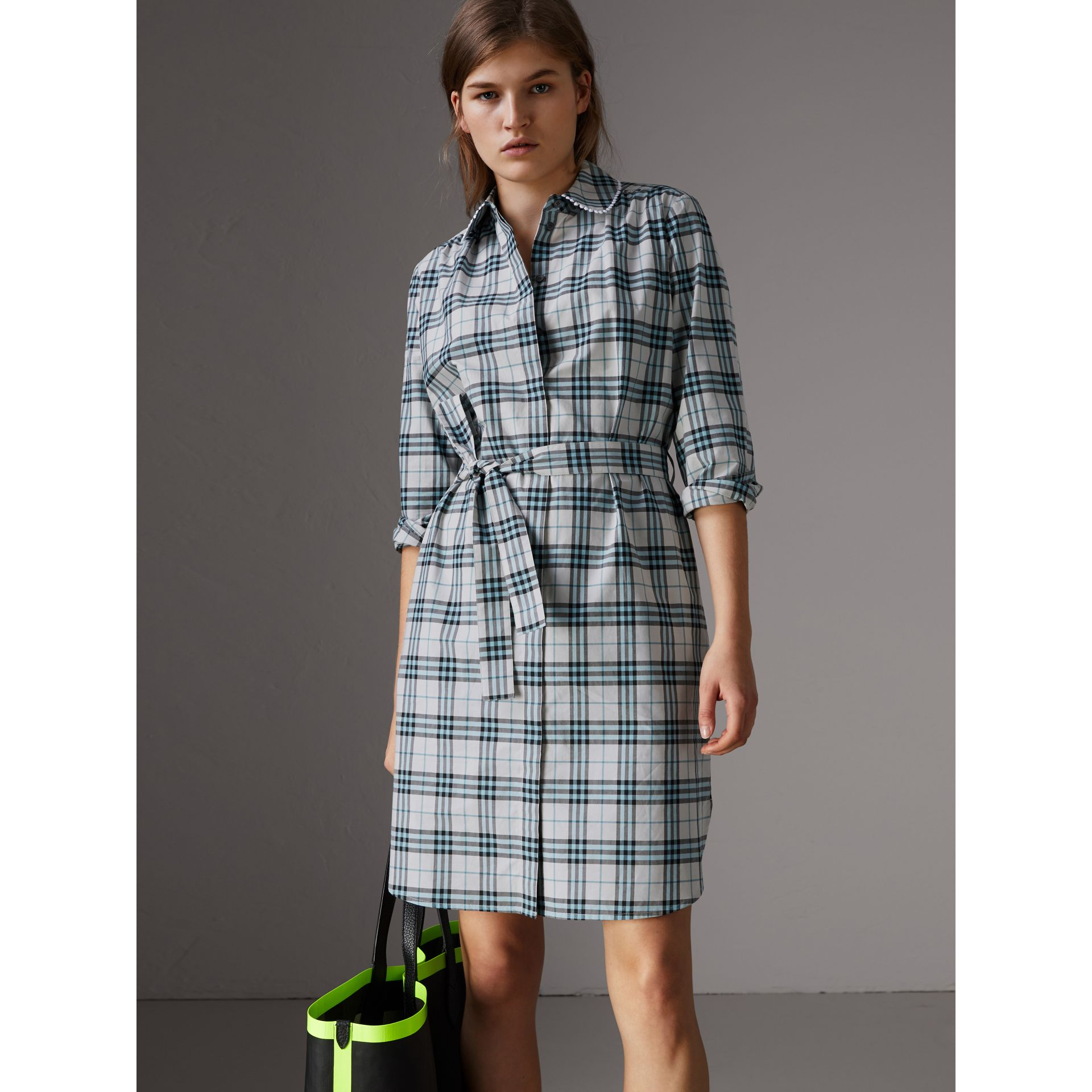 Burberry lace trim collar check cotton shirt dress pale for Burberry check shirt dress