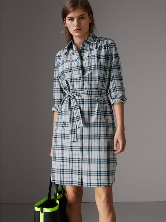 Lace Trim Collar Check Cotton Shirt Dress in Pale Stone