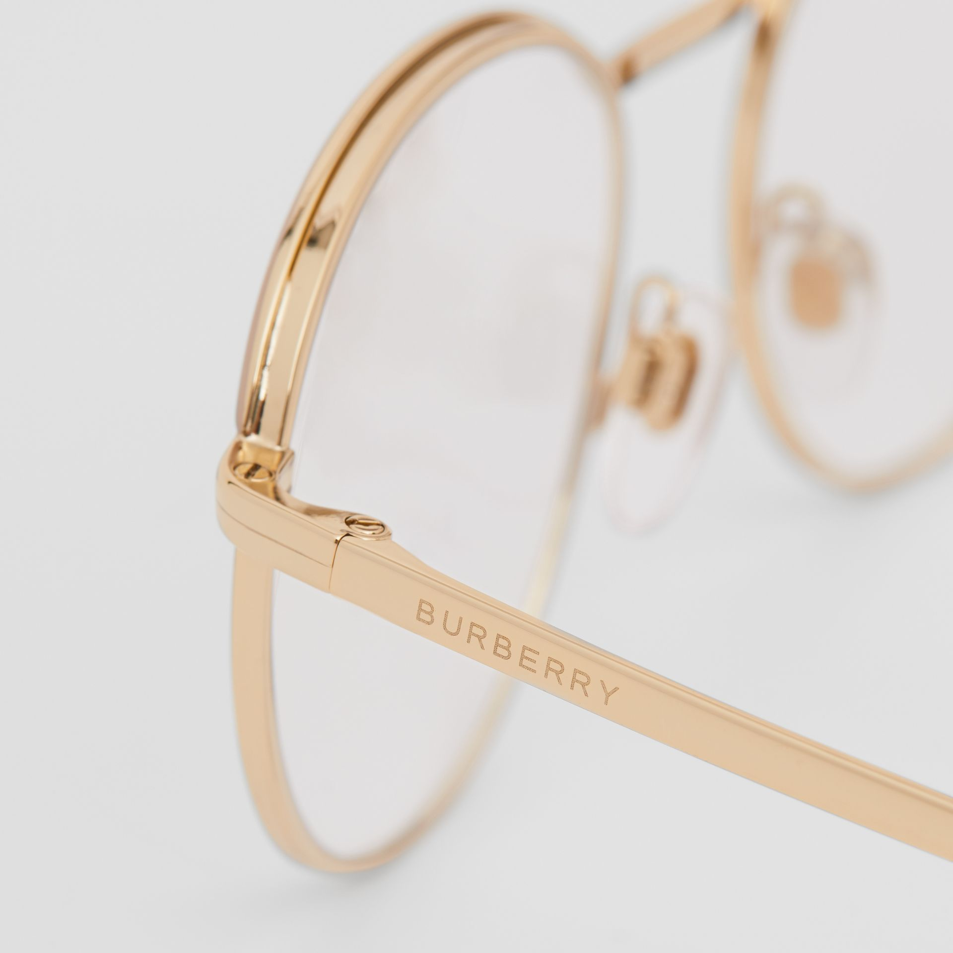 Gold-plated Round Optical Frames in Nude - Women | Burberry Canada - gallery image 1