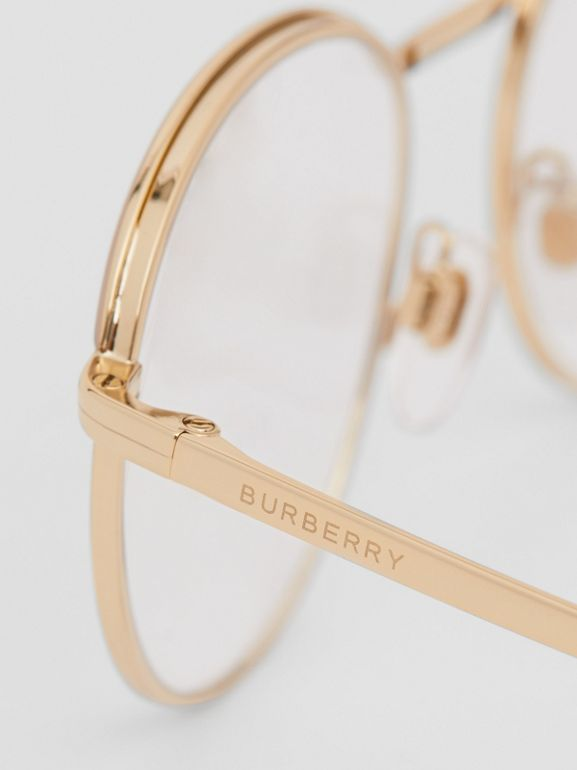 Gold-plated Round Optical Frames in Nude - Women | Burberry - cell image 1