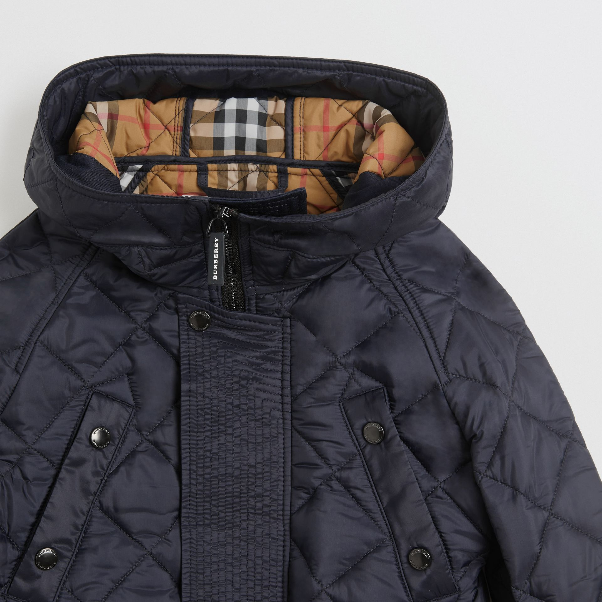 Diamond Quilted Hooded Jacket in Navy | Burberry United Kingdom - gallery image 4
