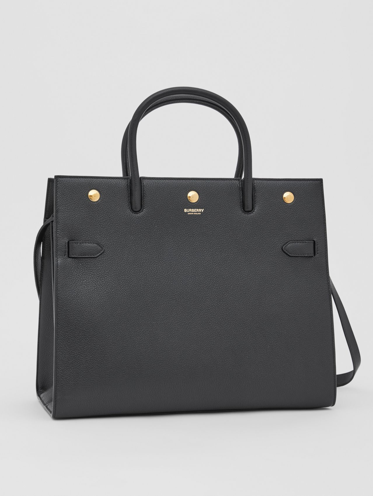Medium Leather Two-handle Title Bag in Black