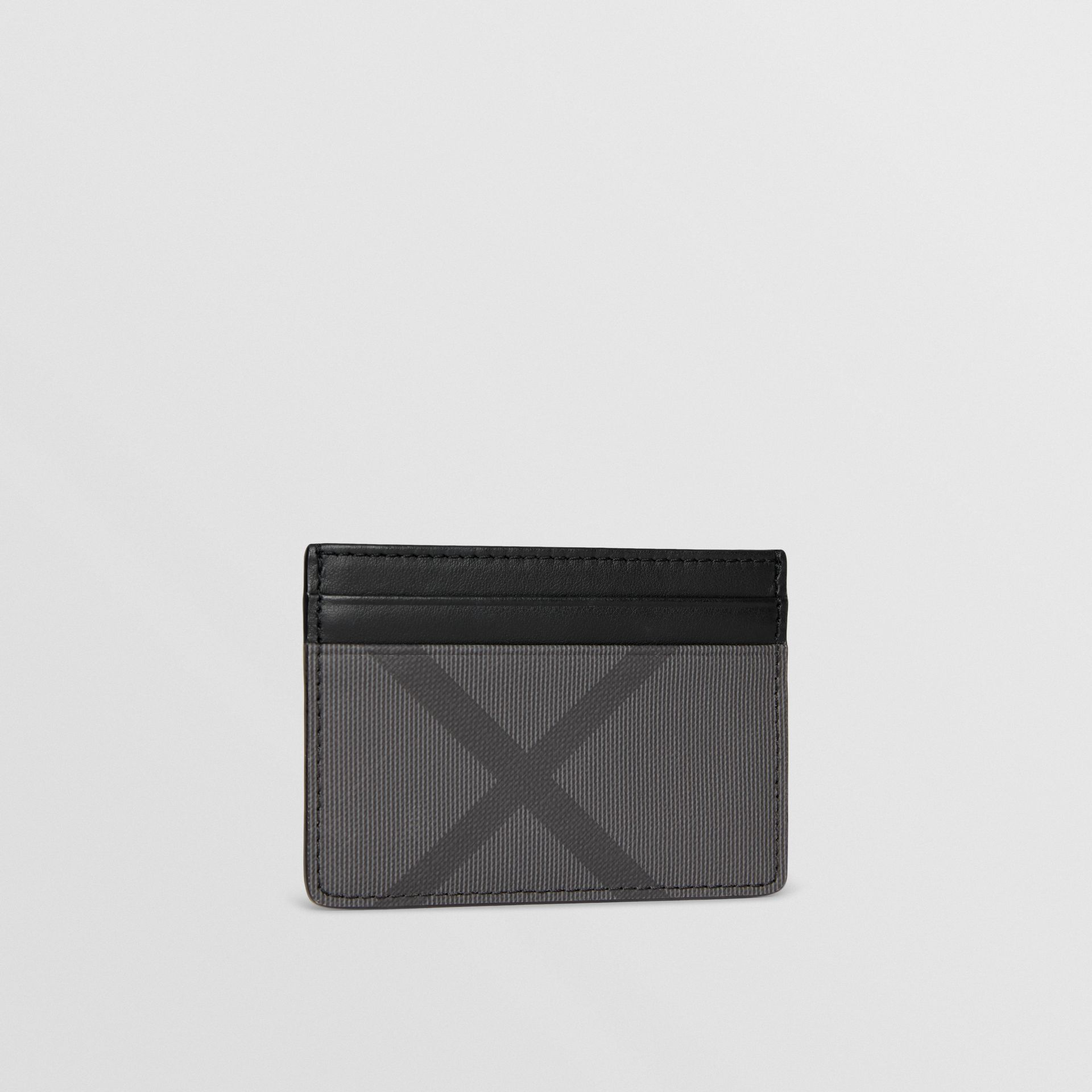 London Check and Leather Card Case in Charcoal/black - Men | Burberry Hong Kong - gallery image 4