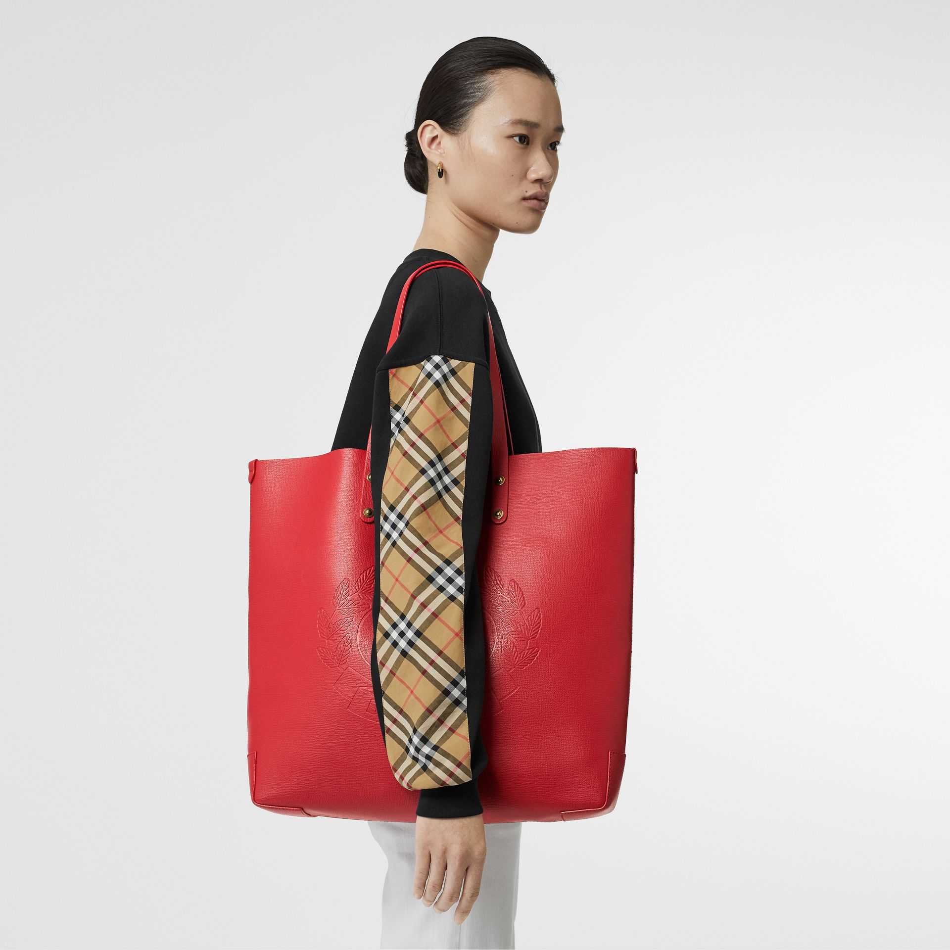 Large Embossed Crest Leather Tote in Rust Red - Women | Burberry Canada - gallery image 2