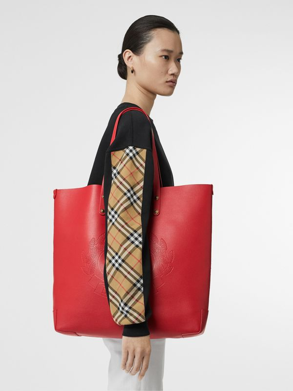 Large Embossed Crest Leather Tote in Rust Red - Women | Burberry - cell image 2