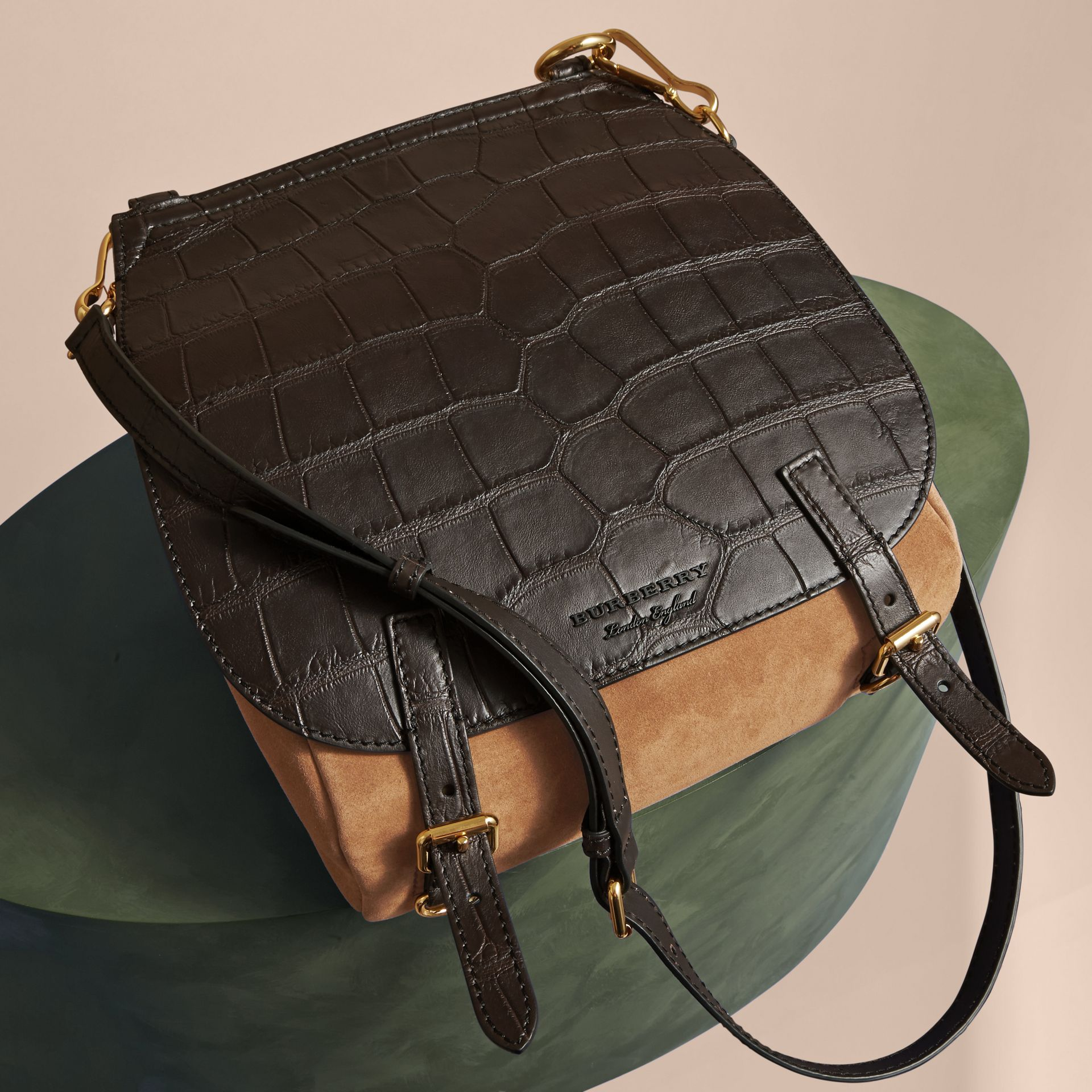 The Small Bridle Bag in Alligator and Suede - Men | Burberry - gallery image 7