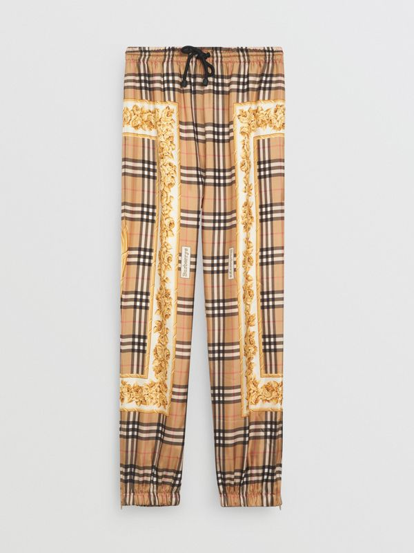 Scarf Border Vintage Check Silk Drawcord Trousers in Multicolour - Women | Burberry - cell image 3