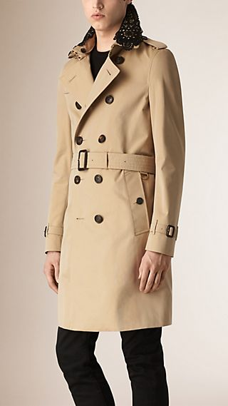 Cotton Gabardine Trench Coat with Lace Collar
