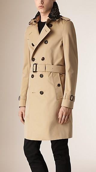 Trench-coat en gabardine de coton avec col en dentelle