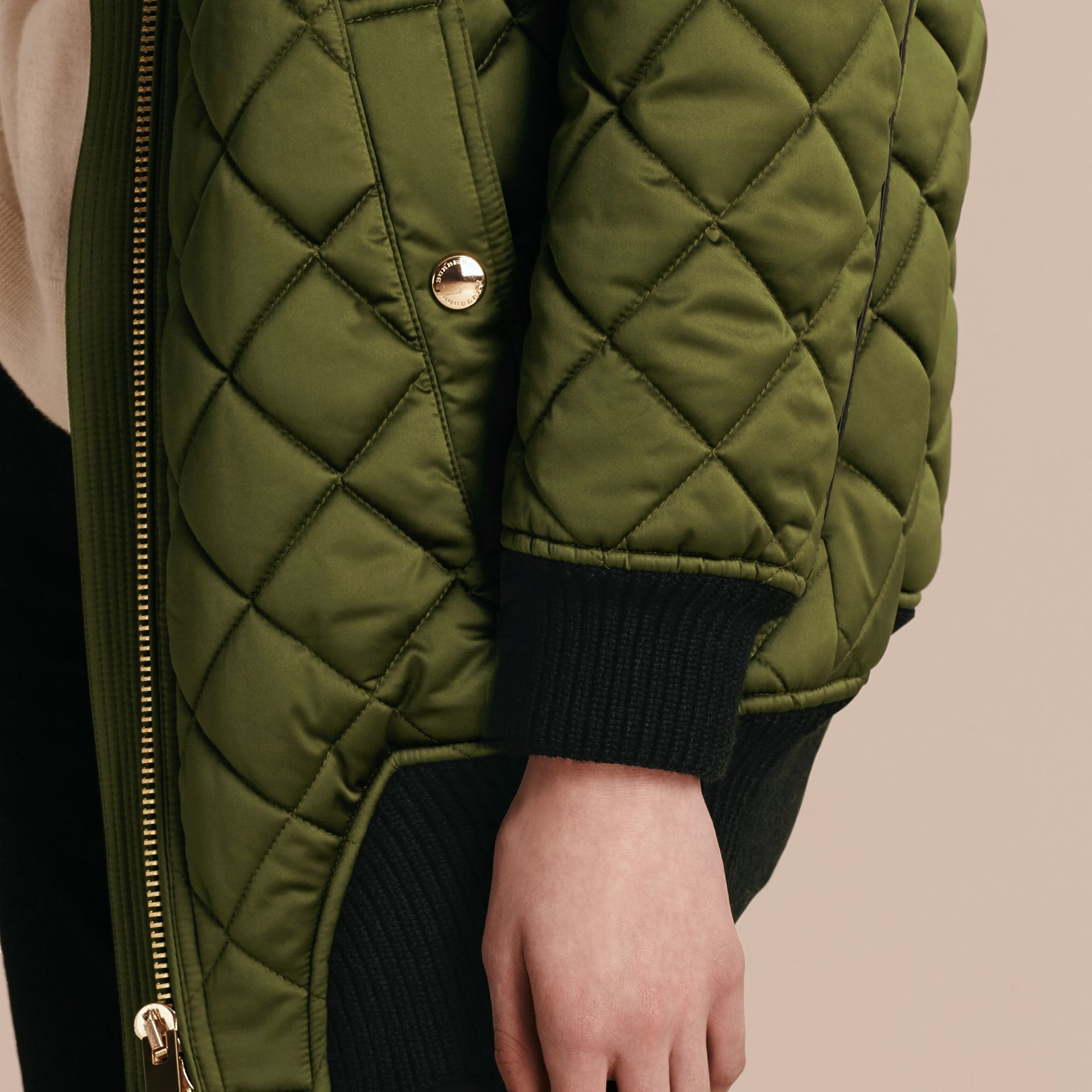 Bright moss green Long Quilted Bomber Jacket with Shearling Collar - gallery image 6
