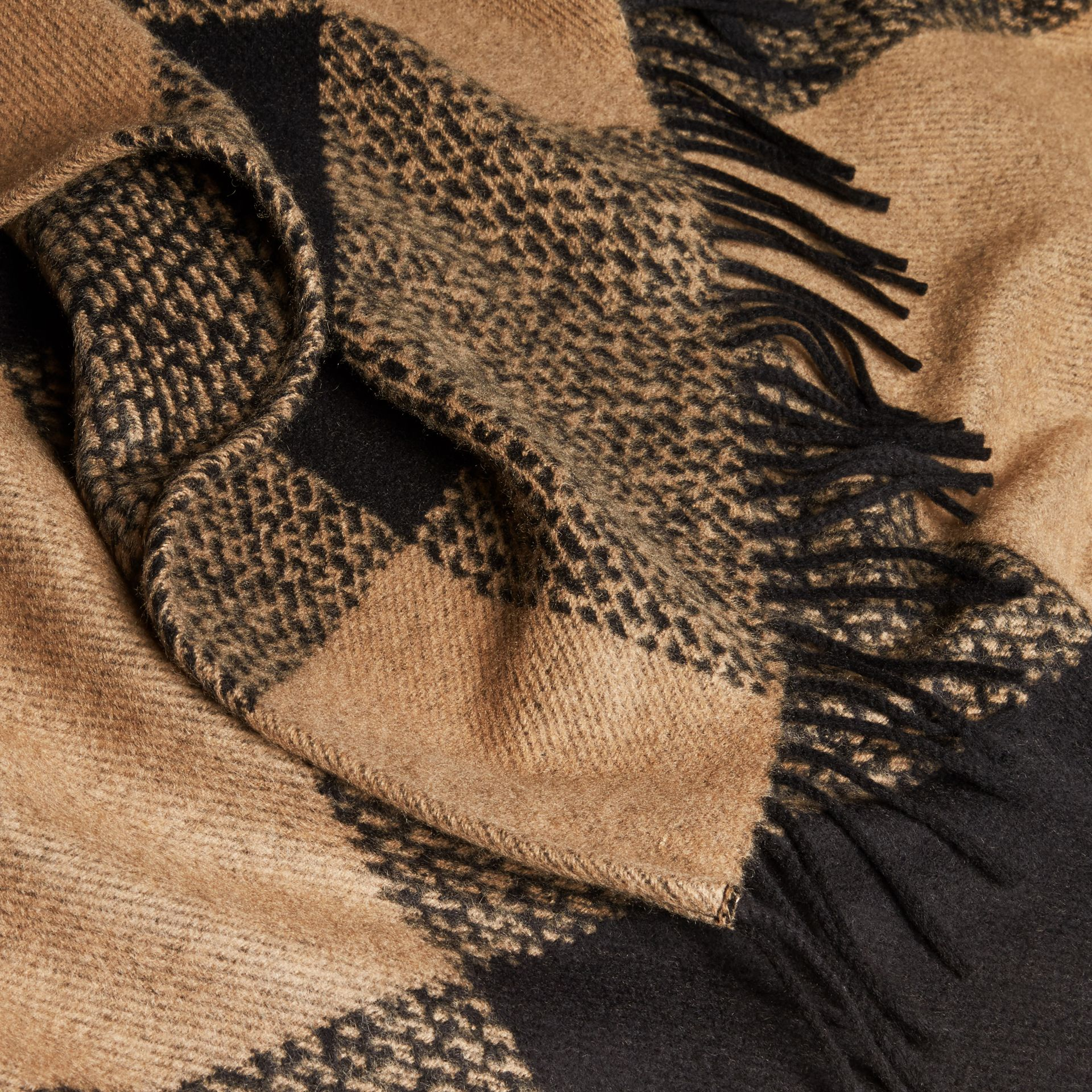 Camel Fur-trimmed Buffalo Check Wool Cashmere Poncho Camel - gallery image 2