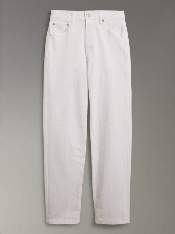 Straight Fit Power-stretch Denim Jeans in White - Women | Burberry Australia - cell image 3