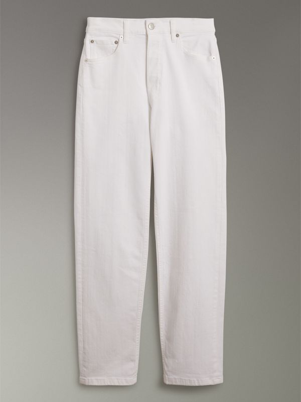 Straight Fit Power-stretch Denim Jeans in White - Women | Burberry - cell image 3