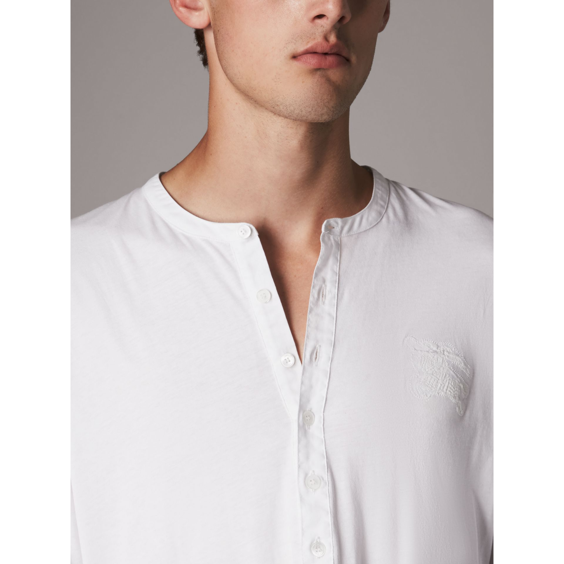 Cotton Henley Top in White - Men | Burberry - gallery image 2