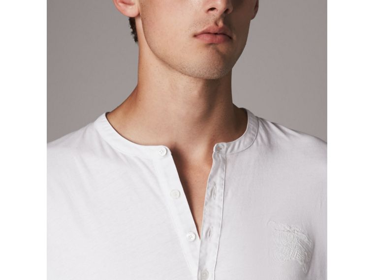 Cotton Henley Top in White - Men | Burberry - cell image 1
