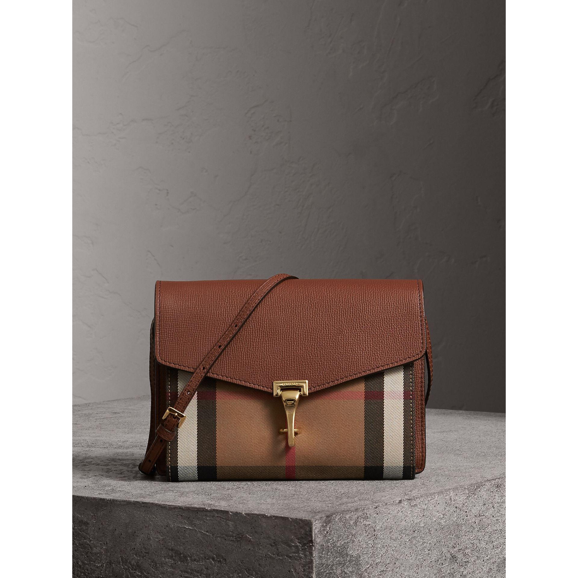 Small Leather and House Check Crossbody Bag in Tan - Women | Burberry - gallery image 1