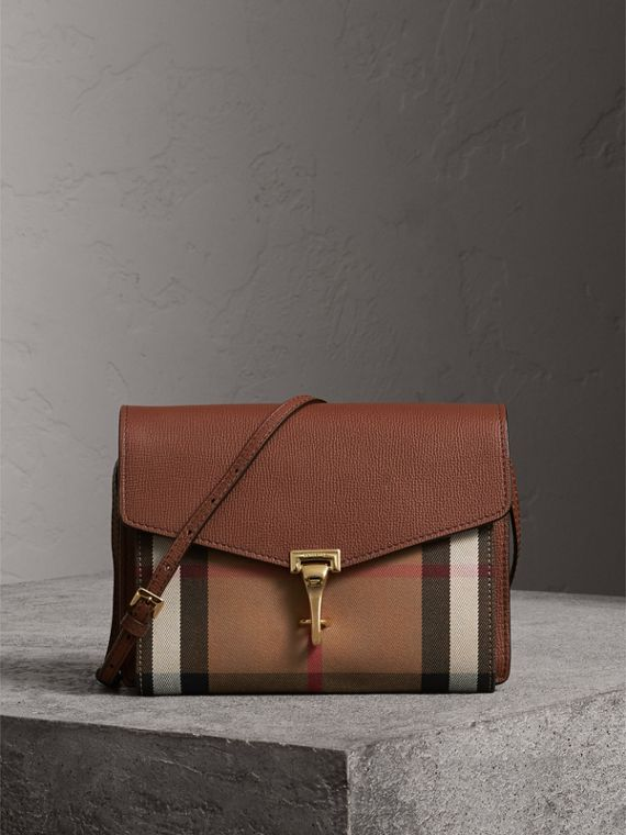 Small Leather and House Check Crossbody Bag in Tan