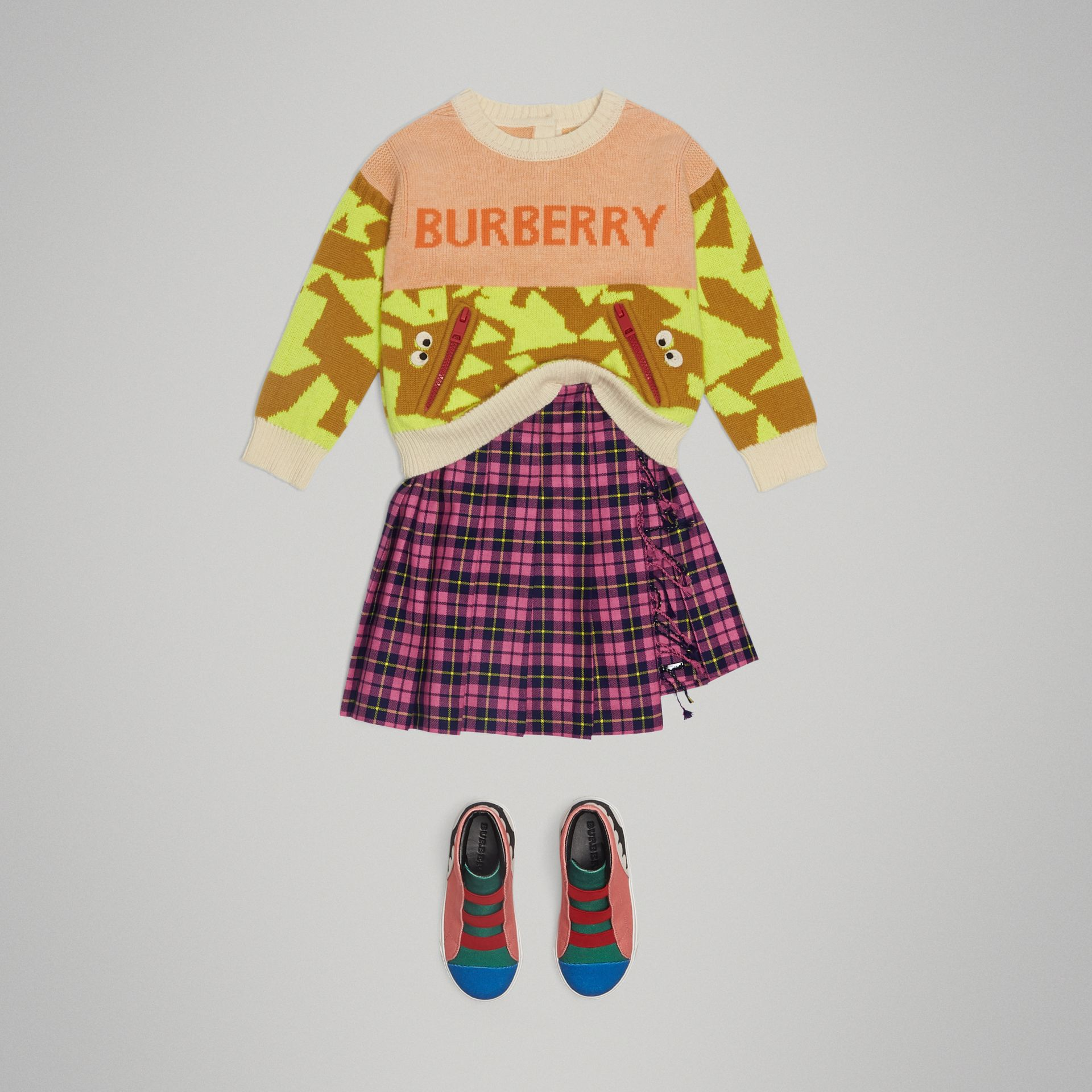 Fringe Detail Tartan Wool Kilt in Neon Pink - Girl | Burberry - gallery image 2