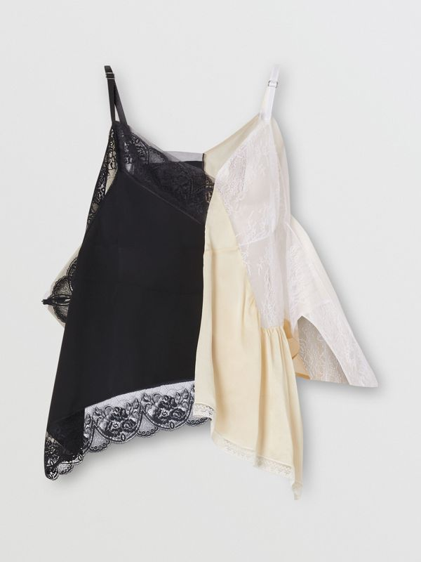 Lace Trim Silk Satin Reconstructed Camisole in Buttermilk - Women | Burberry - cell image 3