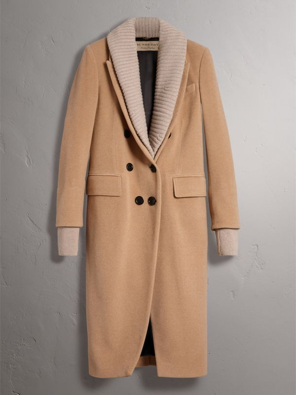 Detachable Rib Knit Collar Cashmere Coat in Camel - Women | Burberry - cell image 3