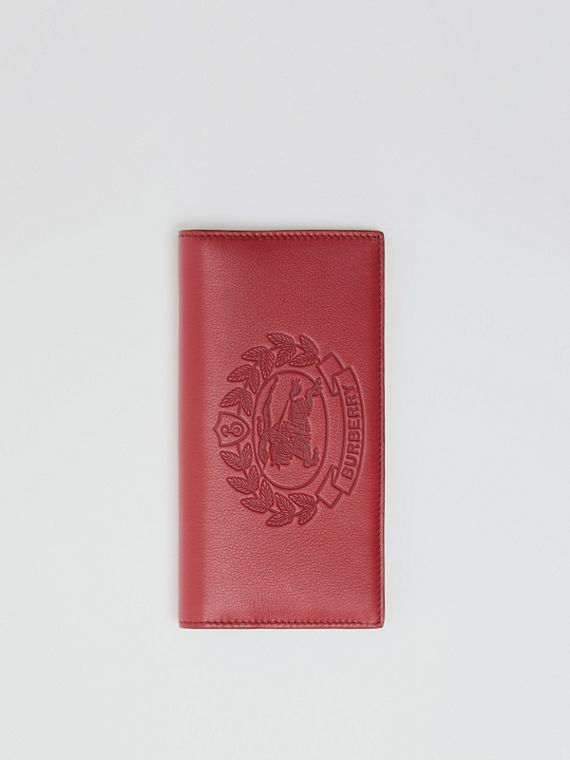 Embossed Crest Leather Continental Wallet in Crimson