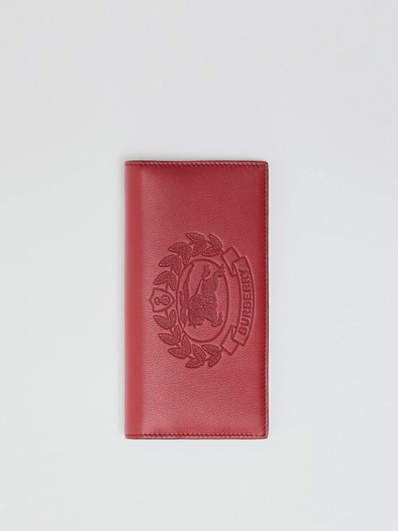 Lederbrieftasche im Kontinentalformat mit Ritteremblem (Karmesinrot)