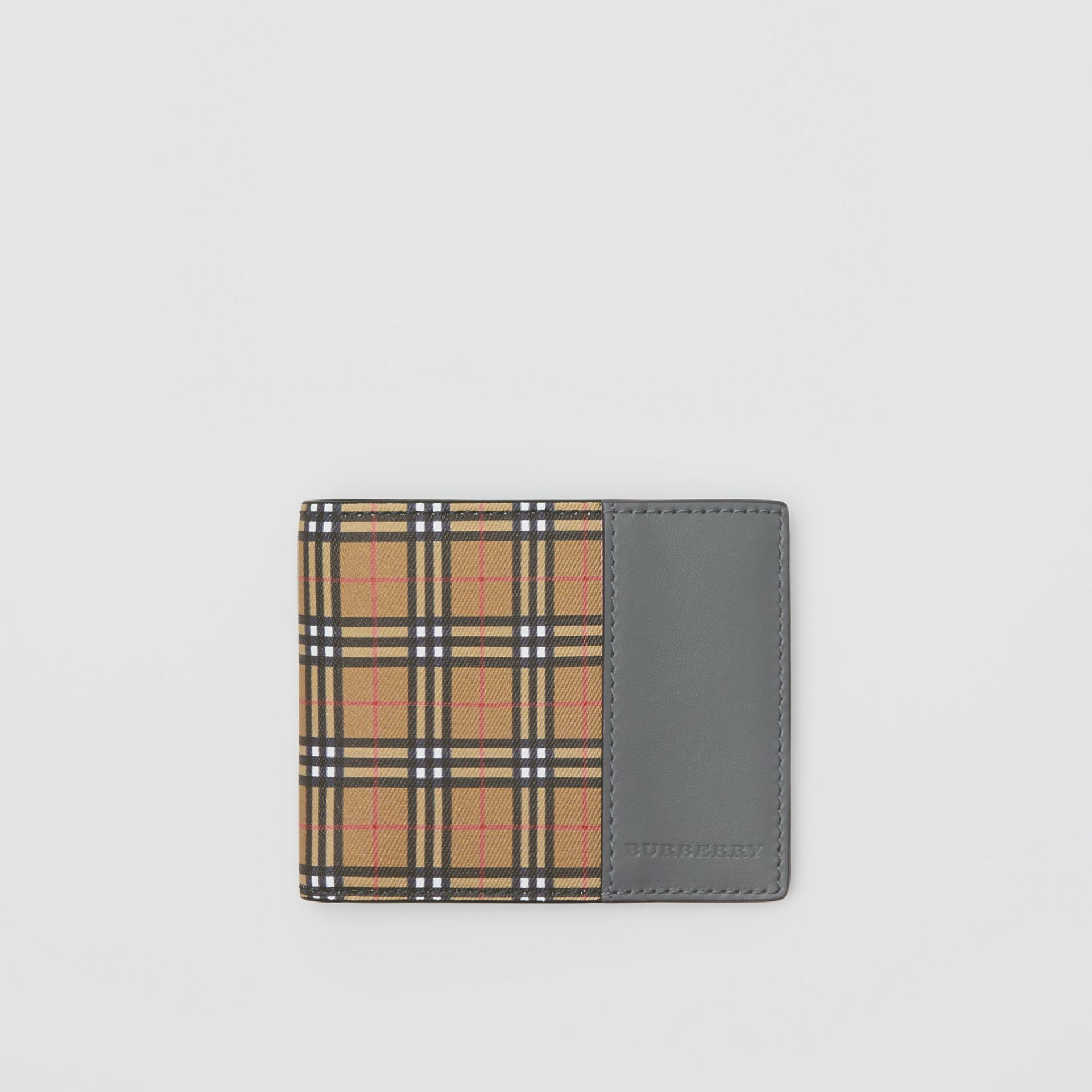 Small Scale Check and Leather Bifold Wallet in Antique Yellow/dark Grey - Men | Burberry United States - gallery image 0